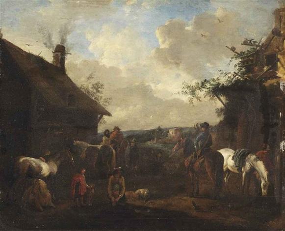 horsemen resting outside a farmstead by philips wouwerman