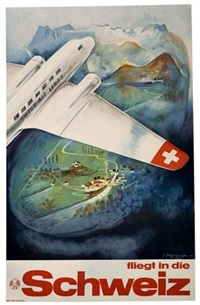 fliegt in die schweiz by posters: aviation
