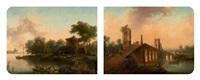 vue d'un littoral animé et vue de la campagne romaine (2 works) by christian hilfgott brand