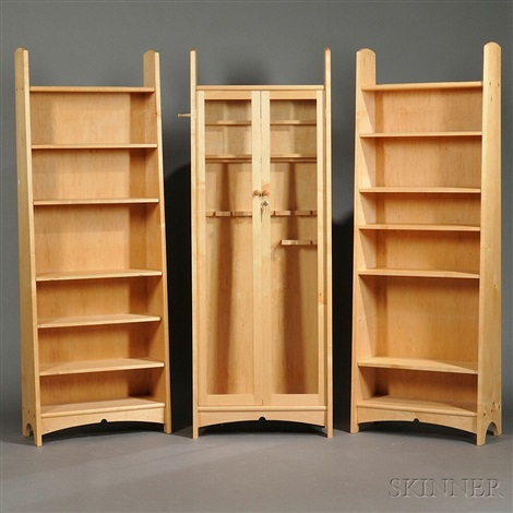 Custom Gun Cabinet And Two Bookcases (set Of 3) By Geoffrey Warner