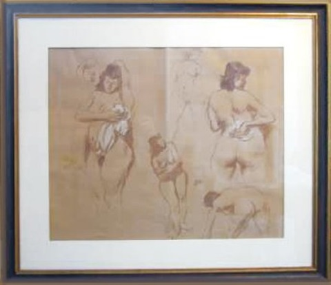 study of five female nudes bathing by raphael soyer