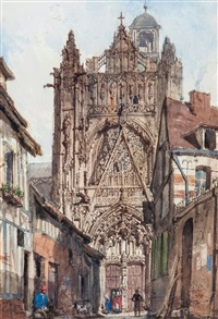 picturesque church architecture in northern france, (pair) by joseph nash