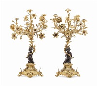 a pair of louis xv style gilt and patinated bronze six-light candelabra by anonymous-french (20)
