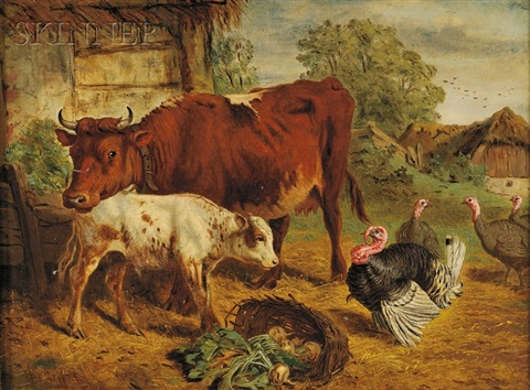 barnyard with cows and turkeys by henry charles bryant