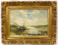 bateaux à l'estuaire by alfred théodore joseph bastien