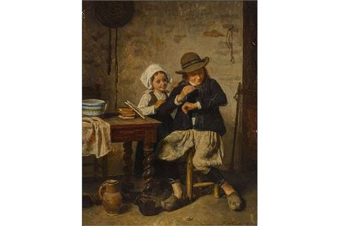 watch d79f9 accde Zwei Kinder mit Salamander by Charles Fortin on artnet