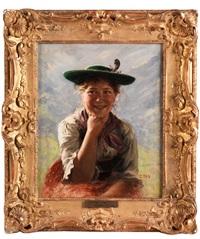 portrait einer jungen bäuerin im dirndl by emil rau