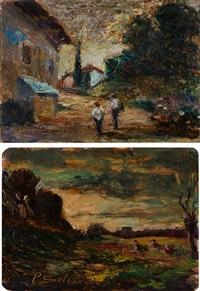 paesaggio all'imbrunire e paesaggio con contadini (2 works) by paolo selvaggio