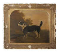 terrier in a landscape by g. b. newmarch