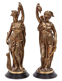 artemis and amphitrite (pair) by léon pilet