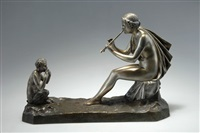 pan, eine nymphe im flötespielen unterrichtend by gustavo obiols delgado