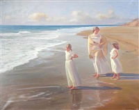 mother and daughters at the beach by francisco serra