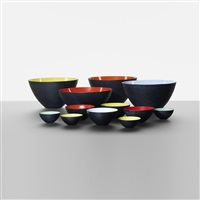 collection of twelve krenit bowls by herbert krenchel