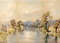 extensive river landscape with castle tower by john joseph cotman