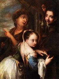 junges mädchen neben seiner mutter und einem knaben by andrea celesti