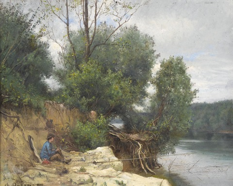 flussuferpartie mit angler by charles félix edouard deshayes