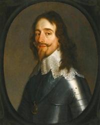 portrait of king charles i, half length, wearing armour by gerrit van honthorst