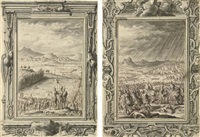 joshua and the israelites crossing the jordan (+ god hurls hailstones at the philistines; 2 works collab. w/ johann daniel preisler) by johann melchior füssli