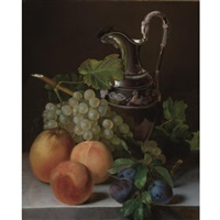 still life of peaches, plums, a bunch of grapes and an empire silver water pitcher all resting on a ledge by françois lepage