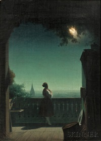 woman in moonlight on a balcony by continental school