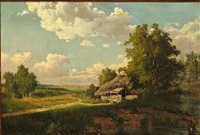 russian summer landscape with a hut, in the background a larger city by mikhail petrovich (baron) klodt von jurgensburg