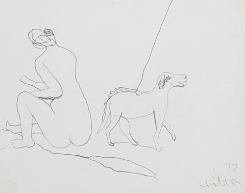 nude with hound by roger hilton