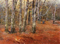 woman gathering wood amongst birch trees by josef csillag