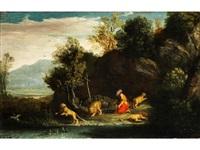der heilige hieronymus in anbetung des kreuzes, umgeben von löwen by pier paolo (g.b. carracci) bonzi