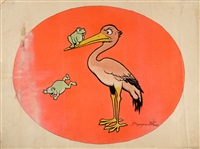 grande et superbe illustration couleur animalière représentant une cigogne et des grenouilles by benjamin rabier