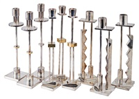 candlesticks (9) (model nos. starlight, moonlight, and silvershade) by ettore sottsass