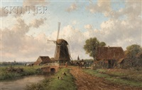 view of figures by a bridge and windmill by willem vester
