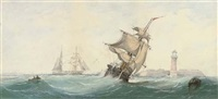 a merchant brig running out to sea in a heavy swell by richmond markes