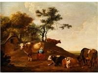 bäuerin beim melken in hügeliger landschaft neben kühen by govert dircksz camphuysen