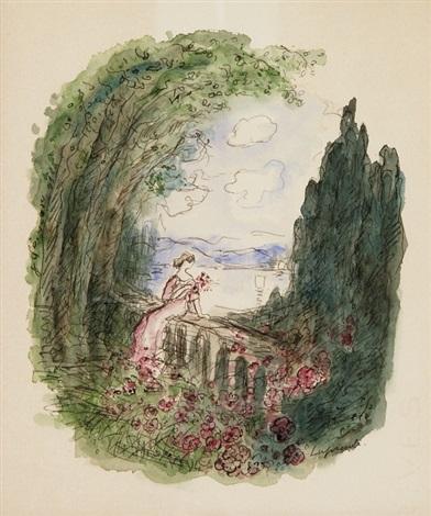 auf brüstung sitzende frau mit rosen dame smllr 2 works by pierre laprade