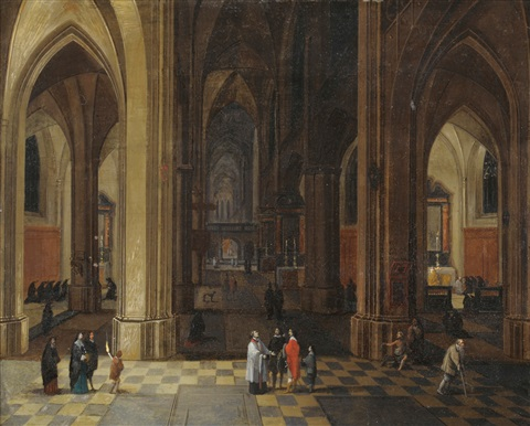 figures in a cathedral interior by pieter janz saenredam