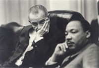 lyndon johnson and dr. martin luther king (+ l.b.j. boarding a helicopter; 2 works) by yoshi okamoto