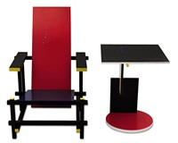 rot-blau-stuhl (red and blue chair)/beistelltisch schroeder 1 by gerrit thomas rietveld