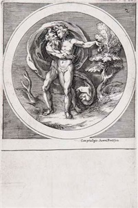 jupiter embracing ganymede, set within a roundel by cherubino alberti