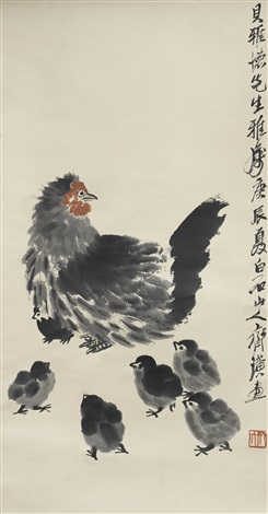 hen and six chicks by qi baishi