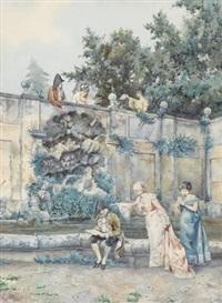 höfische gesellschaft an einem parkbrunnen by pietro gabrini