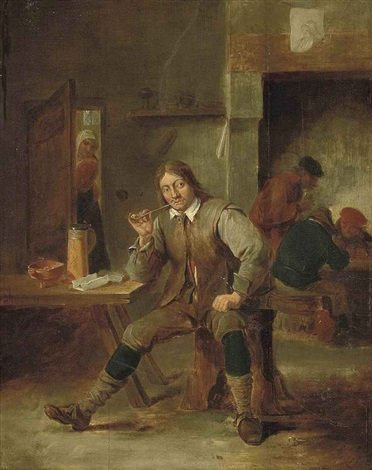 a peasant at a table smoking a pipe in a tavern by david teniers the elder