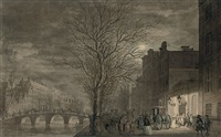 view of the keizersgracht, amsterdam, with people leaving the theatre by reinier vinkeles