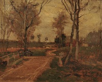 houses by a path by paul cornoyer