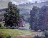 verdant landscape with barn and trees among rolling hills by joseph newman