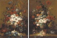 roses, peonies, carnations and other flowers in a gilt urn on a ledge by johann zagelmann
