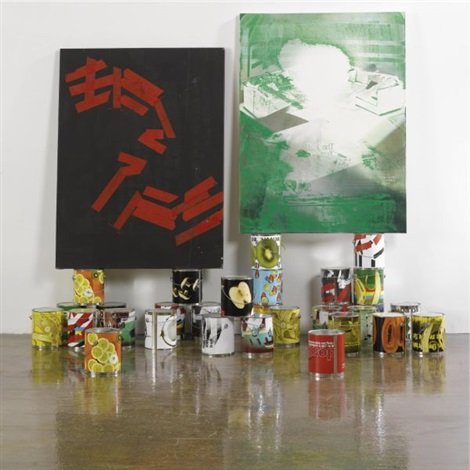 paint cans from dear ketel one drinker hello again the failever of judgement part iv in 30 parts 2 paintings various sizes 3 works by kelley walker and wade guyton