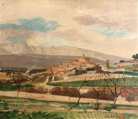 landscape with village by adrian maurice daintrey
