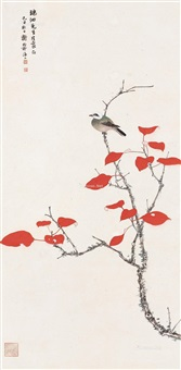红叶小鸟 镜片 设色纸本 ( in spring) by xie zhiliu