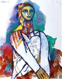 Woman in a white dress and colored headscarf