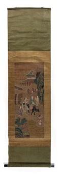 laozi sur le dos d'un buffle accompagné d'enfants dans un paysage by anonymous-chinese (qing dynasty)